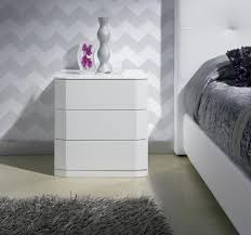 white stained bed side table with three drawer and rounded bedside tables contemporary bedside cabinets trendy products