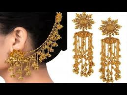 gold ear cuffs 22 ct gold earring with attached gold ear cuff