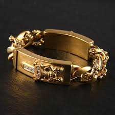 gold hearts bracelet images Crown a rakuten global market 22 k gold gp double id bracelet jpg