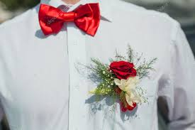 Red Rose Boutonniere Red Rose Boutonniere On Groom U0027s Wedding Shirt U2014 Stock Photo