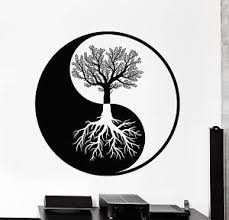wall vinyl decal sticker yin yang tree roots abstract decor z4087