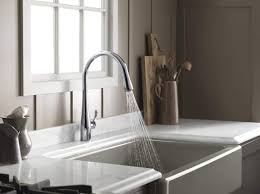 nickel wall mount high end kitchen faucets two handle pull down