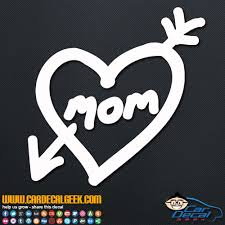 mom love heart arrow tattoo vinyl car window decal