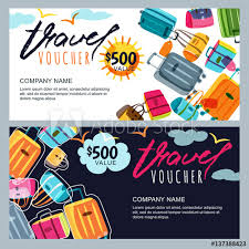 Travel Voucher images Vector gift travel voucher template multicolor luggage suitcase jpg