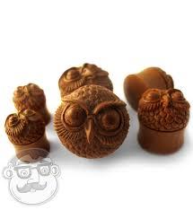 carved owl wood plugs 1 2 1 inch urbanbodyjewelry