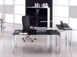 bureau en verre noir bureau individuel en verre design