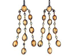 Citrine Chandelier Earrings Autumn Jewelry Fall Colored Jewelry