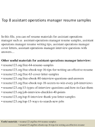 Operations Management Resume Top 8 Assistant Operations Manager Resume Samples 1 638 Jpg Cb U003d1428676171