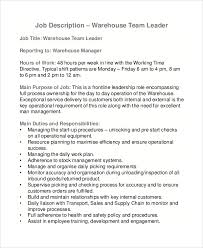 Best Team Lead Resume Example by Team Leader Job Description Job Description Team Leader Data