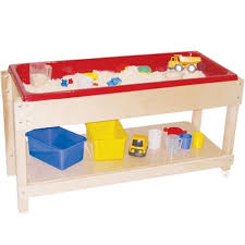 Water Table Toddler Wood Designs Sand And Water Table With Lid Shelf Wd11810 Kids