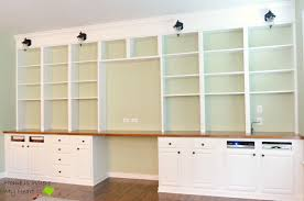 Home Office Bookcase Remodelaholic Build A Wall To Wall Built In Desk And Bookcase