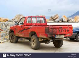 truck toyota bali greece april 30 2016 old red pickup truck toyota parked