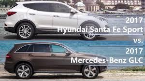 mercedes santa fe 2017 hyundai santa fe sport vs 2017 mercedes glc technical