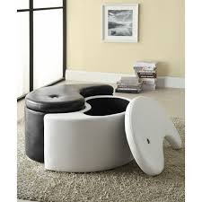 ying yang ottoman storage chair living bed foot stool black white