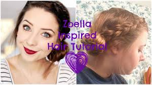 zoella inspired hair tutorial messy braided side bun youtube