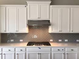 3x6 morning fog glass herringbone pattern kitchen backsplash