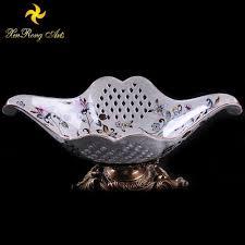 decorative fruit bowl wholesales ceramic fruit bowl with bronze base table top decoraton