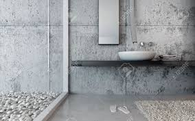 Decor And Floor by Hand Basin In A Modern Restroom With Pebble Decor And Marble