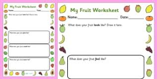 fruit and vegetables writing frames and worksheets page 1