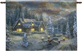 thomas kinkade lighted pictures high country christmas fiber optic wall hanging with remote thomas