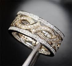 Mens Wedding Ring 2 by Unique Eternity Band 1 05ct Diamond 14k Two Tone Gold Women Men