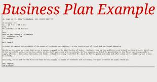 business plan example samples business letters