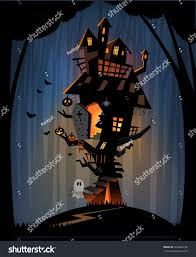 halloween night background illustration of dark halloween night with scary haunted castle stock