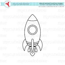 space rocket digital stamp clipart clip art outline rocket