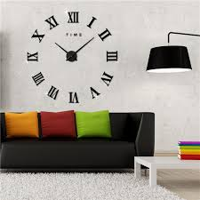 home decor hours 3d diy wall clocks home decor horloge frameless roman numerals metal