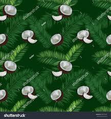 green vector coconut seamless pattern coconut stock vector