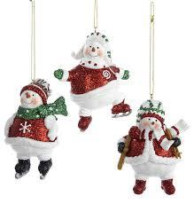 kurt adler 3 resin snowman skating skiing ornaments 3 set