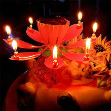 candle sparklers musical birthday candle lotus flower cake party gift high