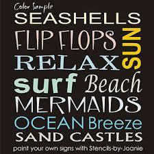 stencil beach sun surf mermaid ocean breeze sand castle flip flop
