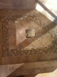 tile shower floor with mosaic design bathroom dallas by