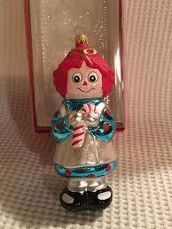 raggedy and kurt adler glass ornament