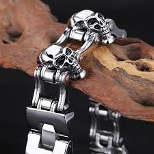 bracelet men skull images Trustylan 23mm wide skull bracelet men cool solid stainless steel jpg