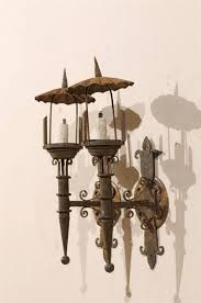 Antique Iron Sconces Pair Of French Vintage Iron Sconces With Parasol Like Top For Sale