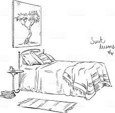 Interior Design Bedroom Drawings Bedroom Drawing Interior Design Stock Vector Art 641683708 Istock
