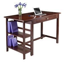 Wood Office Desk Amazon Com Winsome Wood Velda Writing Desk With 2 Shelves