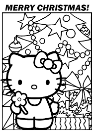 Hello Kitty Xmas Happy Christmas Hello Kitty Coloring Pages Hello Tree Coloring Page