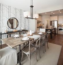 restoration hardware dining room with transitional recessed lights