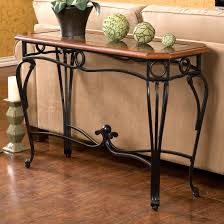 Metal And Wood Sofa Table by Console Table Entry Hall Tv Stand End Table Scrolled Metal Legs