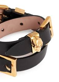 leather bracelet with buckle images Lyst alexander mcqueen three buckle double wrap skull leather jpeg