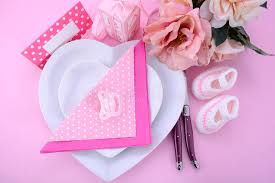 baby shower table settings its a girl pink theme baby shower table setting stock image image