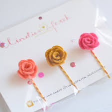 Girls Favourite Flowers - a set of 3 flower bobby pins for girls that is a summer autumn