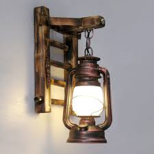 Lantern Wall Sconce Retro Antique Kerosene Lantern Wall Sconces Creative Bamboo