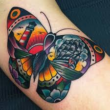 traditional butterfly tattoo traditional tattoos pinterest