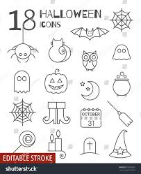 chalkboard halloween cat clear background halloween linear icons set editable stroke stock vector 497853076