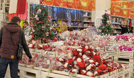 Cheap Christmas Decorations On Sale by Christmas Decorations On Sale At The Store Editorial Photography