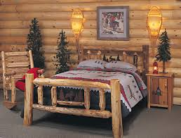 bedroom decor king bed log bedroom furniture with red colors